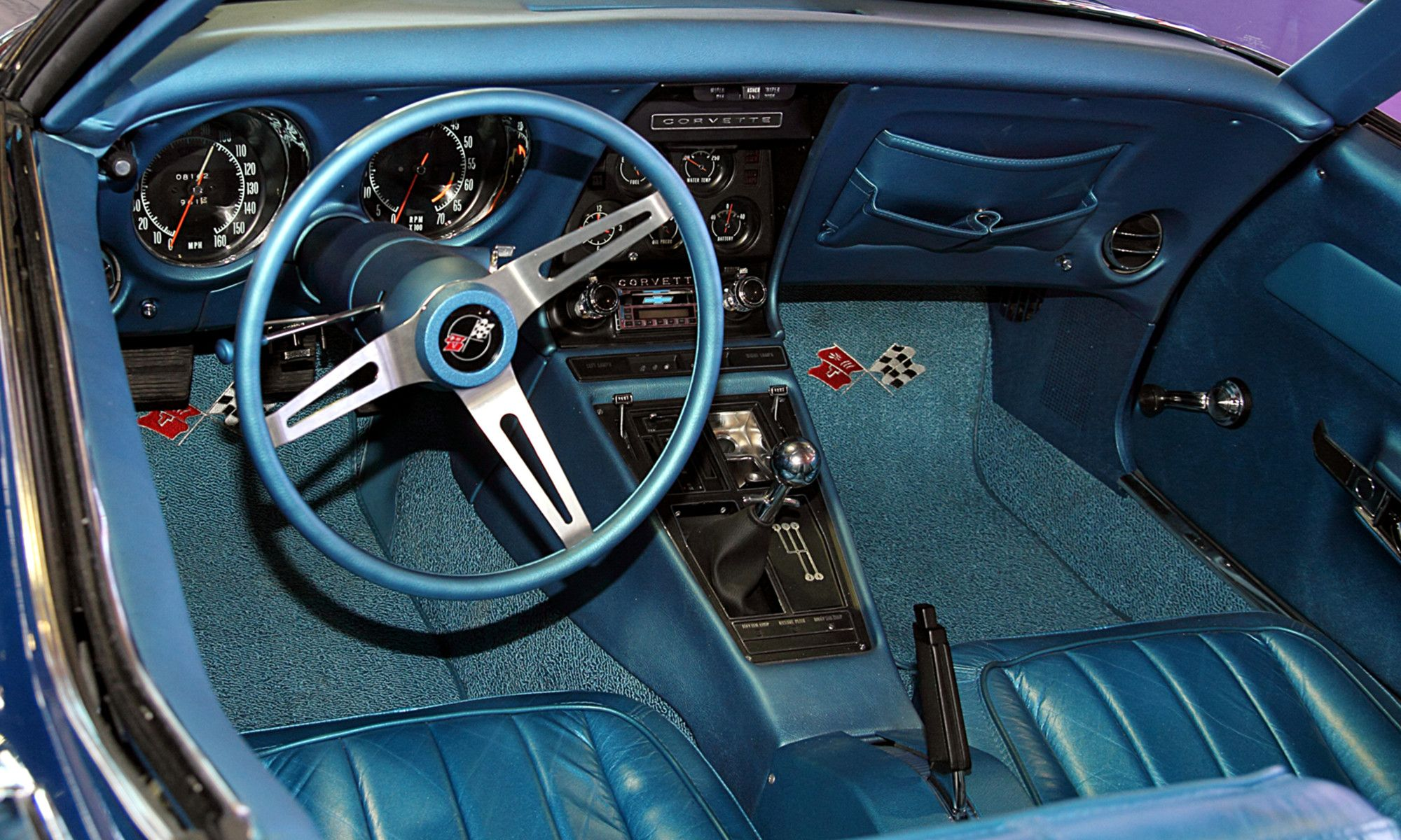 Blue Corvette interior